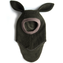 Huttelihut Balaclav Dark Green Wool Bunny Ears Limited Edition