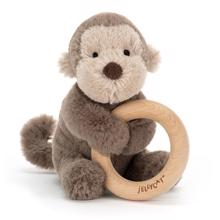 Jellycat Shooshu Monkey Wooden Ring Toy