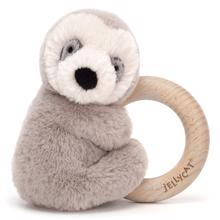 Jellycat Shooshu Sloth Wooden Ring Toy