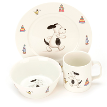 Jellycat Bashful Puppy Bowl, Cup & Plate