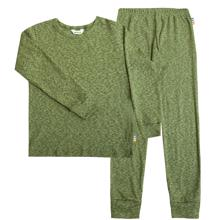 Joha Green Melange Cotton Rib Pyjamas