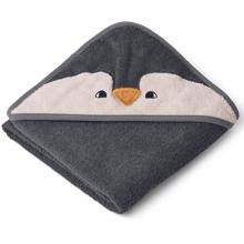 Liewood Albert Hooded Towel Penguin Stone Grey