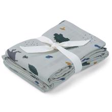 Liewood Hannah Muslin Cloth 2-pack Dino Dove Blue Mix