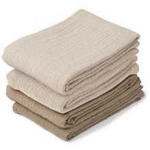 Liewood Leon Muslin Cloth 4 pack Natural/Sandy Mix