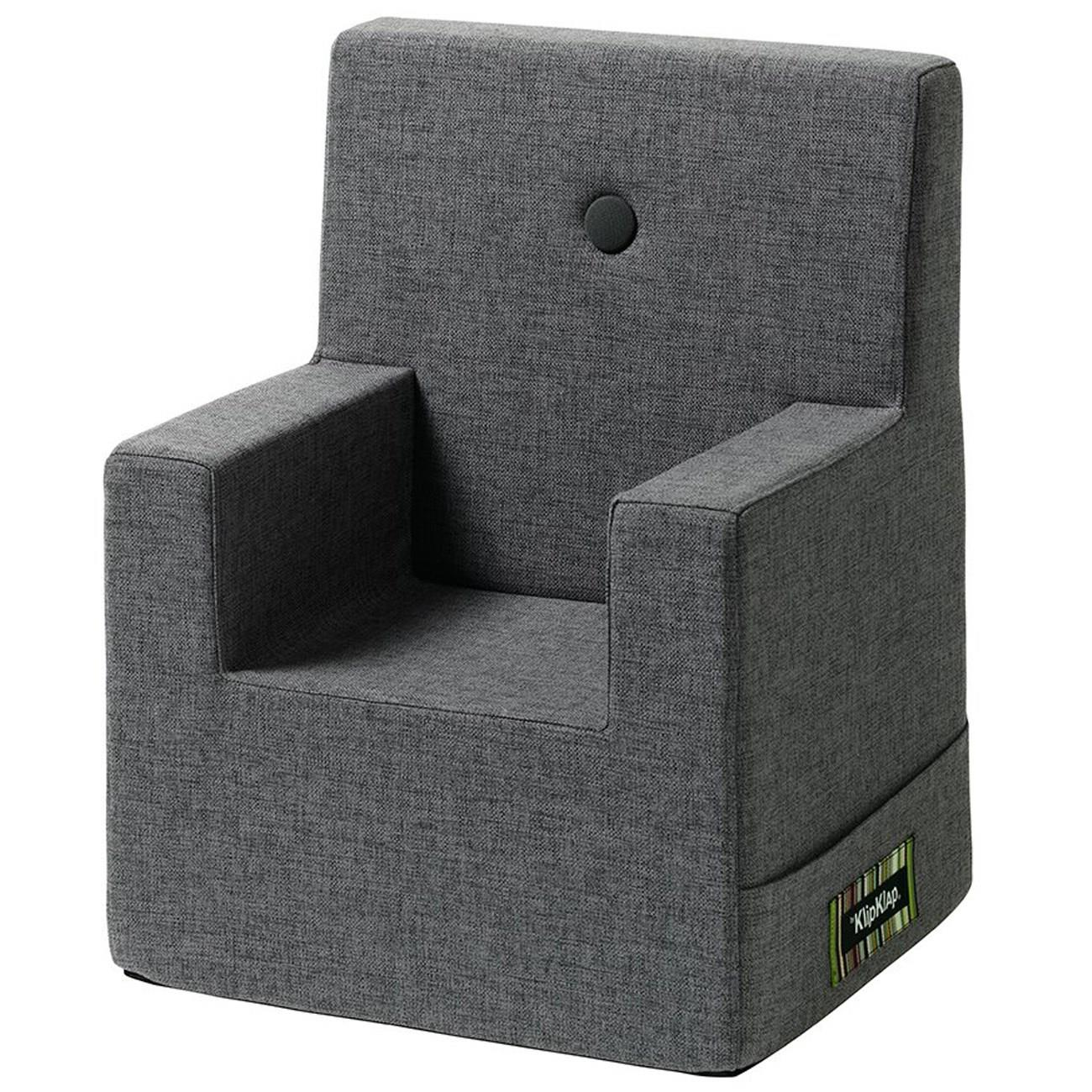 KK Kids Chair XL Blue Grey w. Grey Buttons