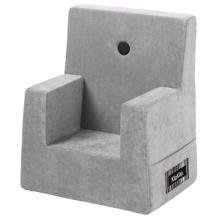 KK Kids Chair Velvet Argent Grey w. Dark Grey Buttons