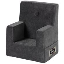 KK Kids Chair Velvet Anthracite Grey w. Dark Grey Buttons