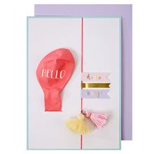 Meri Meri Greeting Card Hello w. Pink Ballon