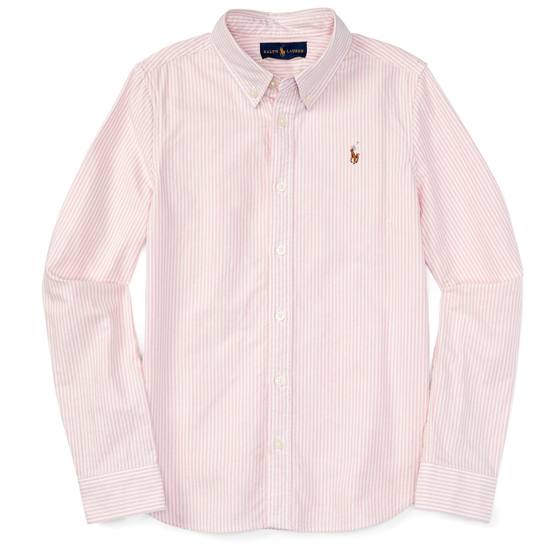 c7fb9c3a7 Polo Ralph Lauren Girl Long Sleeved Stripe Oxford Shirt Pink White