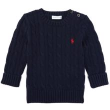 Ralph Lauren Baby Boy Long Sleeved Cable Knit Sweater Hunter Navy