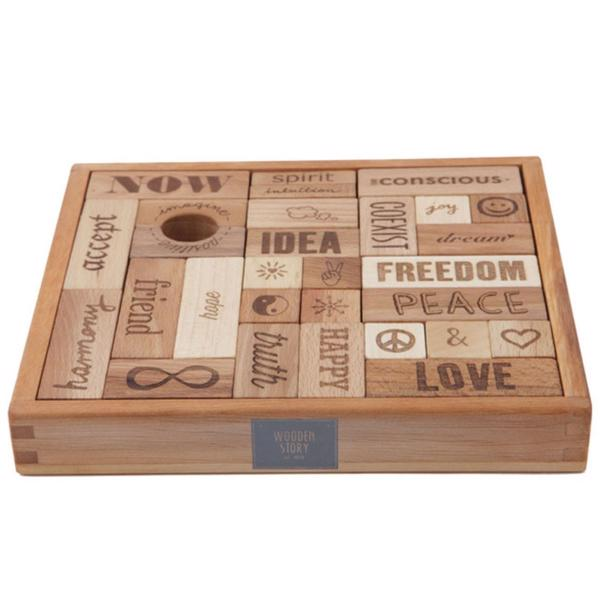 Wooden Blocks Peace&Love (29stk.)