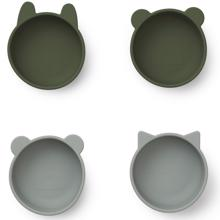 Liewood Iggy Silicone Bowl 4-Pack Hunter Green Mix