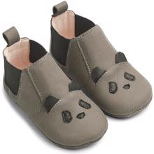 Liewood Edith Leather Slippers Panda Grey