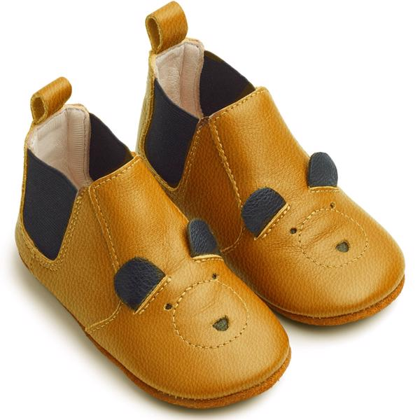 Liewood Edith Leather Slippers Mr. Bear Mustard