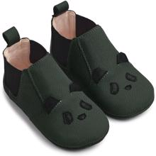 Liewood Edith Leather Slippers Panda Hunter Green