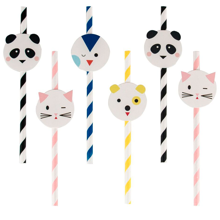 My Little Day Mini Animals Straws White 12 PCS