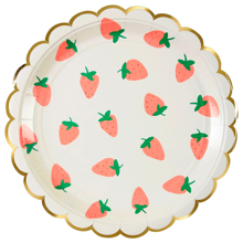 Meri Meri Strawberry Plates Large 8 pcs