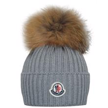 Moncler Beretto Fur Hat Grey