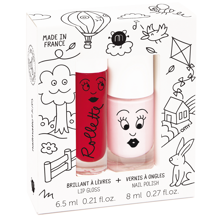 Nailmatic Nail Polish Vandbaseret + Lipgloss Duopack Kids Cottage Bella/Cherry