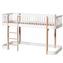 Oliver Furniture Wood Medium High Bed White/Oak