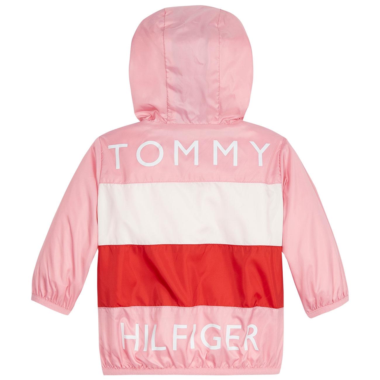 TOMMY HILFIGER JACKET BOYS ZIP UP HOODIE SZ 5 6 RED MATT LOGO FLEECE NEW