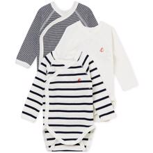 Petit Bateau Bodies ML Lot 3 White/Navy