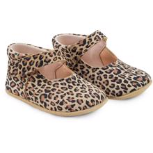 Pom Pom Indoor Shoes Velcro Suede Leopard