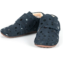 Pom Pom Indoor Shoes Velcro 14010 Navy Dot