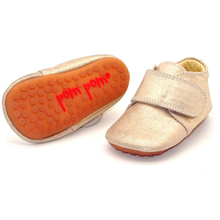 Pom Pom Indoor Shoes Velcro Sparkel Gold