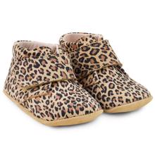 Pom Pom Indoor Shoes Velcro Leopard