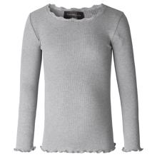 Rosemunde Silk T-shirt Regular w. Lace Light Grey Melange
