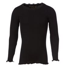 Rosemunde Silk T-shirt Regular w. Lace Black