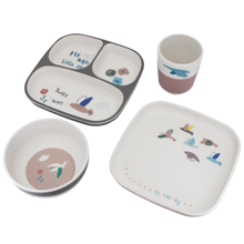 Sebra Dinner Set Bamboo Melamin Singing Birds