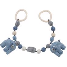 Sebra Knitted Pram Chain Elephant Powder Blue
