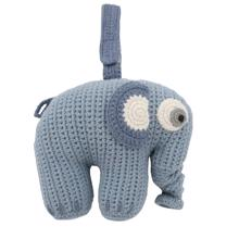 Sebra Music Mobile Knitted Elephant Powder Blue