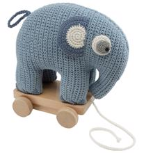 Sebra Pulling Toy Elephant Powder Blue