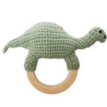 Sebra Knitted Rattle Dino