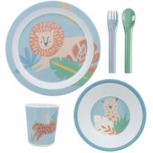 Sebra Dinner Set Melamin Wildlife Eucalyptus Blue