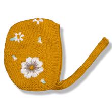 Shirley Bredal Flora Summer Bonnet Mustard With Floral Embroidery