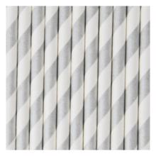My Little Day 25 Paper Straws (silver stripes)