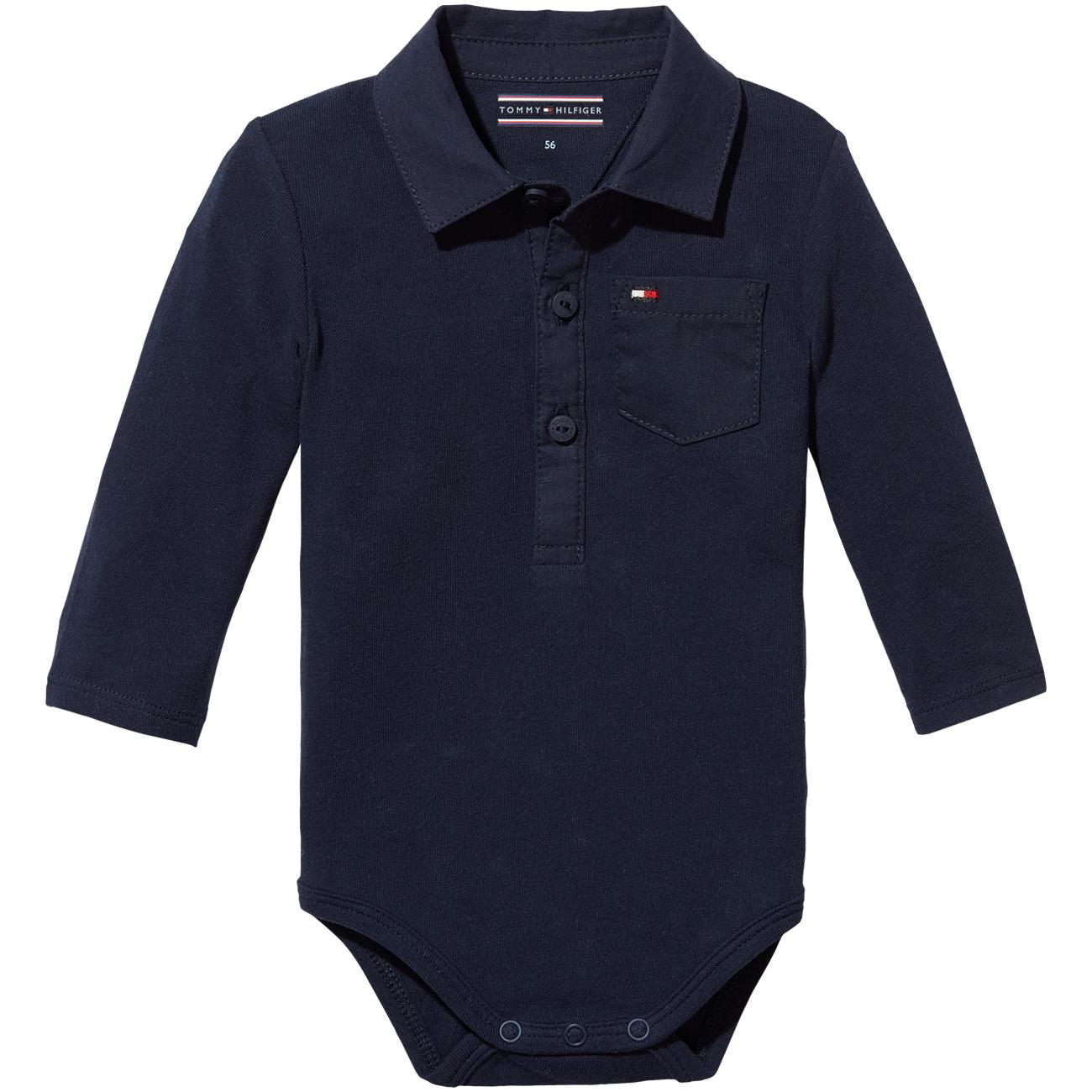 6189607a Tommy Hilfiger Baby Boy Poplin Collar Body L/S Black Iris