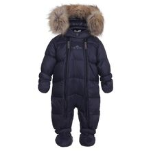 Ver de Terre Featherlight Baby Wintersuit w. Fur Navy