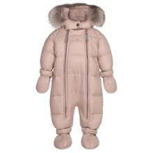 Ver de Terre Featherlight Baby Wintersuit w. Fur Mahogany Rose