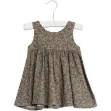Wheat Green Flowers Pinafore Wrinkles Dress