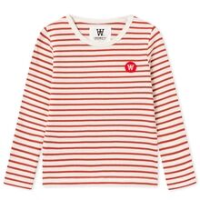 Wood Wood Kim Kids Long Sleeve Blouse Off White/Rust Stripes