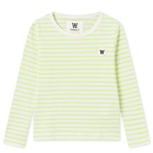 Wood Wood Kim Kids Long Sleeve Blouse Off White/Green Stripes