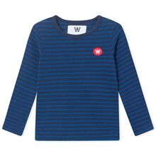 Wood Wood Kim Kids Long Sleeve Blouse Navy/Blue Stripes