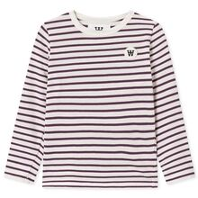 Wood Wood Kim Kids Long Sleeve Blouse Off White/Aubergine Stripes